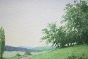Gustav-Mueller-Aquarell-Fahrwegkurve-an-der-Waldspitze-September-1979