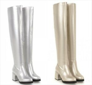 Women-Patent-Leather-Over-Knee-Boots-Chunky-Heel-Pointed-Toe-Knee-High-Boots-New