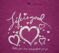 Sale Life Is Good Womens M Vee Fitted Tee/t-shirt Mini Henley Hearts Love