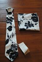 1980's Ladies Vintage Necktie Tie Long Clipon Matching Handkerchief Black