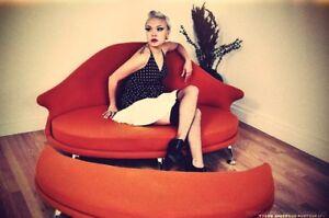 Retro Love Seat And Ottoman Eames Era Mid Century New Ebay