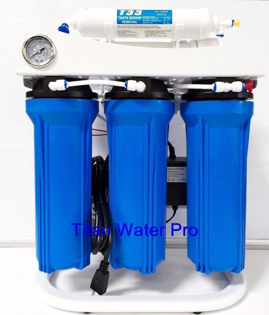 RO osmose inverse filtre à eau 5 étape System 150 GPD-Pompe de gavage & PSI Gauge