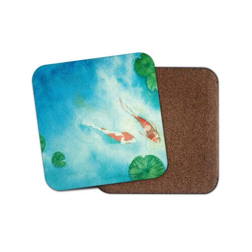 Pretty Koi Carp Coaster Fish Pond Japan Japanese Fishing Animals Gift #16426