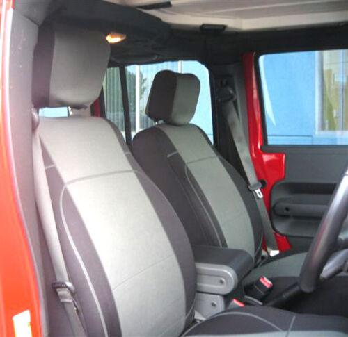 Jeep Wrangler 2007-10 custom made neoprene Sahara FRONT seat cover Gray JPnoFr