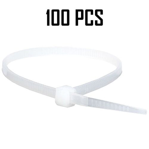 "100pcs 8/"" inch Cable Wire Zip Ties Nylon 40 Lbs Self Locking Pack White"