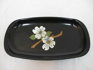 Couroc-of-Monterey-Serving-Tray-with-Wood-Inlay-White-Floral-Blossom-Motif-MCM