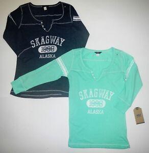 d60b913a MV Sport W1454 Womens Hailey Henley 3/4 Sleeve Shirt Skagway Alaska ...