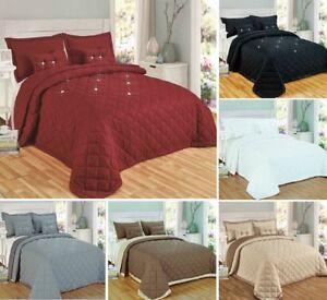 Reversible-Acolchado-Colcha-Edredon-Cobertor-2-Funda-de-Almohada-2-Cojin-Relleno