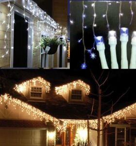 Snowing Christmas Lights.Details About Christmas Lights Snowing Falling Icicle Outdoor House Front Lights Bright White