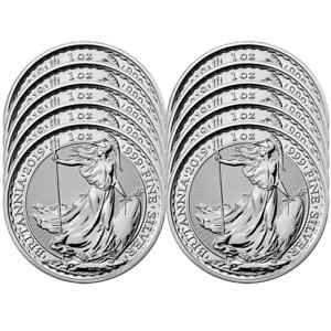 Menge 10 - 2019 GB 2 Pfund Silber Britannia .999 1 OZ Brilliant Uncirculated