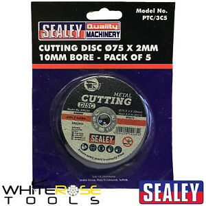 Sealey 5 Pack Metal Cutting Discs 75mm x 2.0mm 10mm Bore Angle Grinder Blades