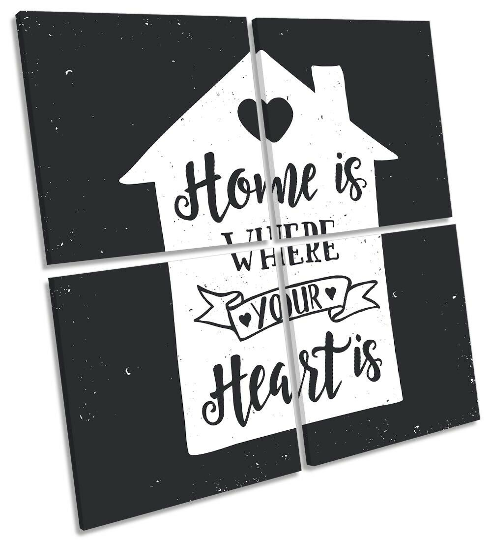 Home is Where the Heart Is Is Is Picture MULTI CANVAS WALL ART Square 8069a7