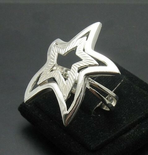 Z STYLISH STERLING SILVER RING STAR SOLID 925 SIZE G