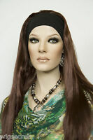 Dark Auburn Red Long Straight Headbands Wigs