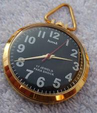 MONTRE PENDENTIF HMT 0231 MECANIQUE,17 RUBIS,CADRAN NOIR,BOITIER ACIER GOLD