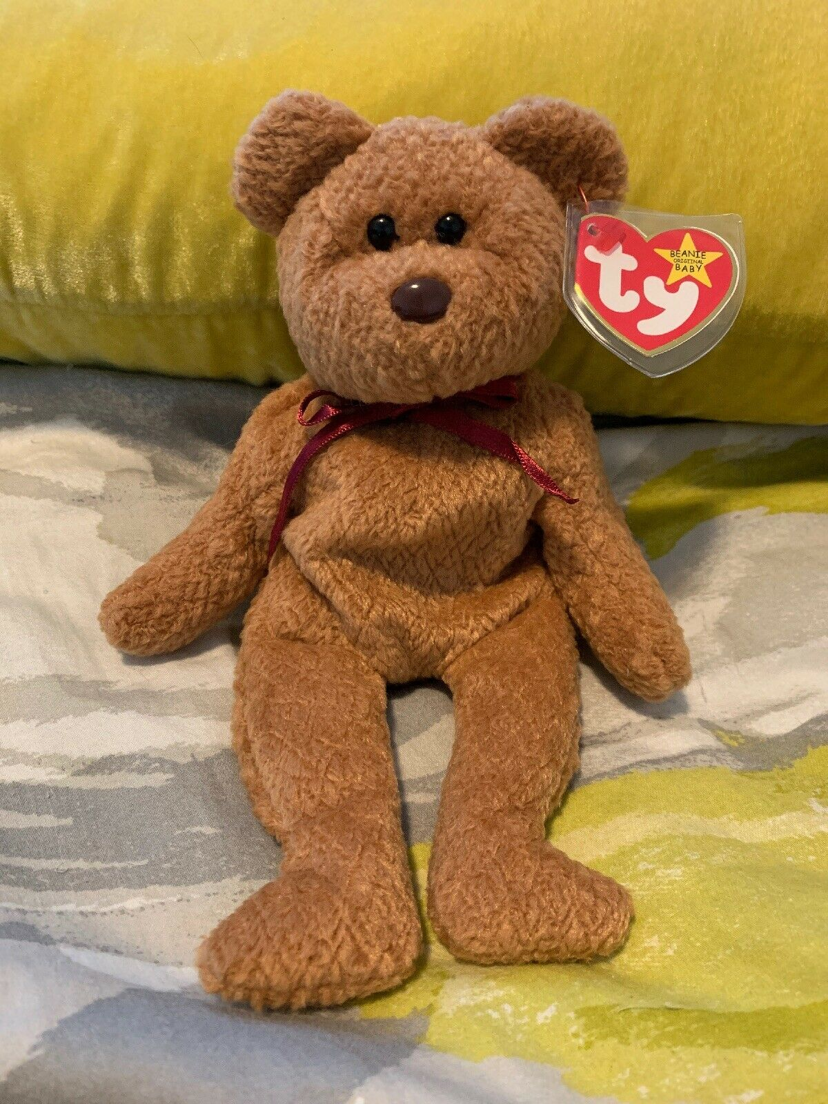 """Ty """"ORIGIINAL"""" Beanie Baby CURLY BEAR - Mint Condition With Errors"""