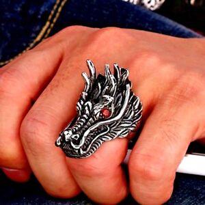 Grosse Bague Homme,Loup Alpha,Argent,Acier,Design Antique,Rock,Punk,HipHop,Mode