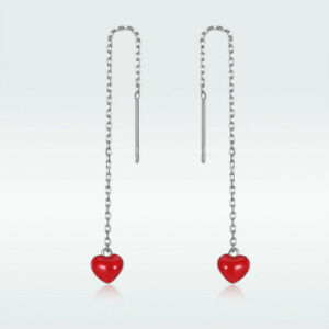 Fashion-925-Sterling-Silver-Threader-Stud-Earrings-With-Red-Heart-Dangle-Jewelry