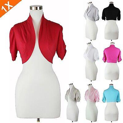 Women's Plus Size Bolero Top Short Sleeve Ruched Shrug Jacket  Solid Casual 1XL