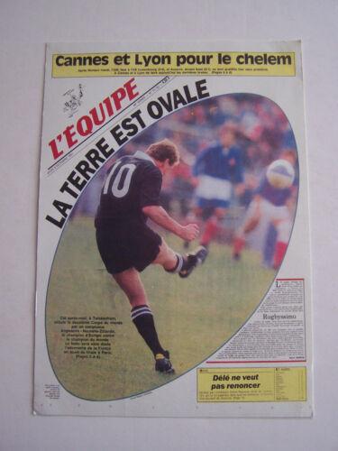 LA UNE DE L' EQUIPE 1991 , RUGBY ANGLETERRE - NOUVELLE ZELANDE . CARTONNE .