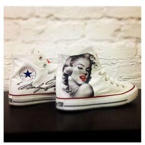 Converse-Marilyn-Monroe-Scarpe-Disegnate-Handmade-Paint-Uomo-Donna-Classiche-in