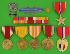 WWII-Army-Philippines-Service-Medals-Ribbons-WW2Duck-CIB-Badge-Bronze-Star