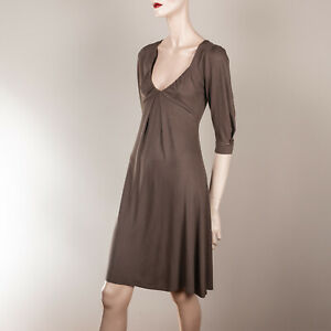 ZARA Damen Kleid S 36 Braun Jersey Tiefer Ausschnitt ...