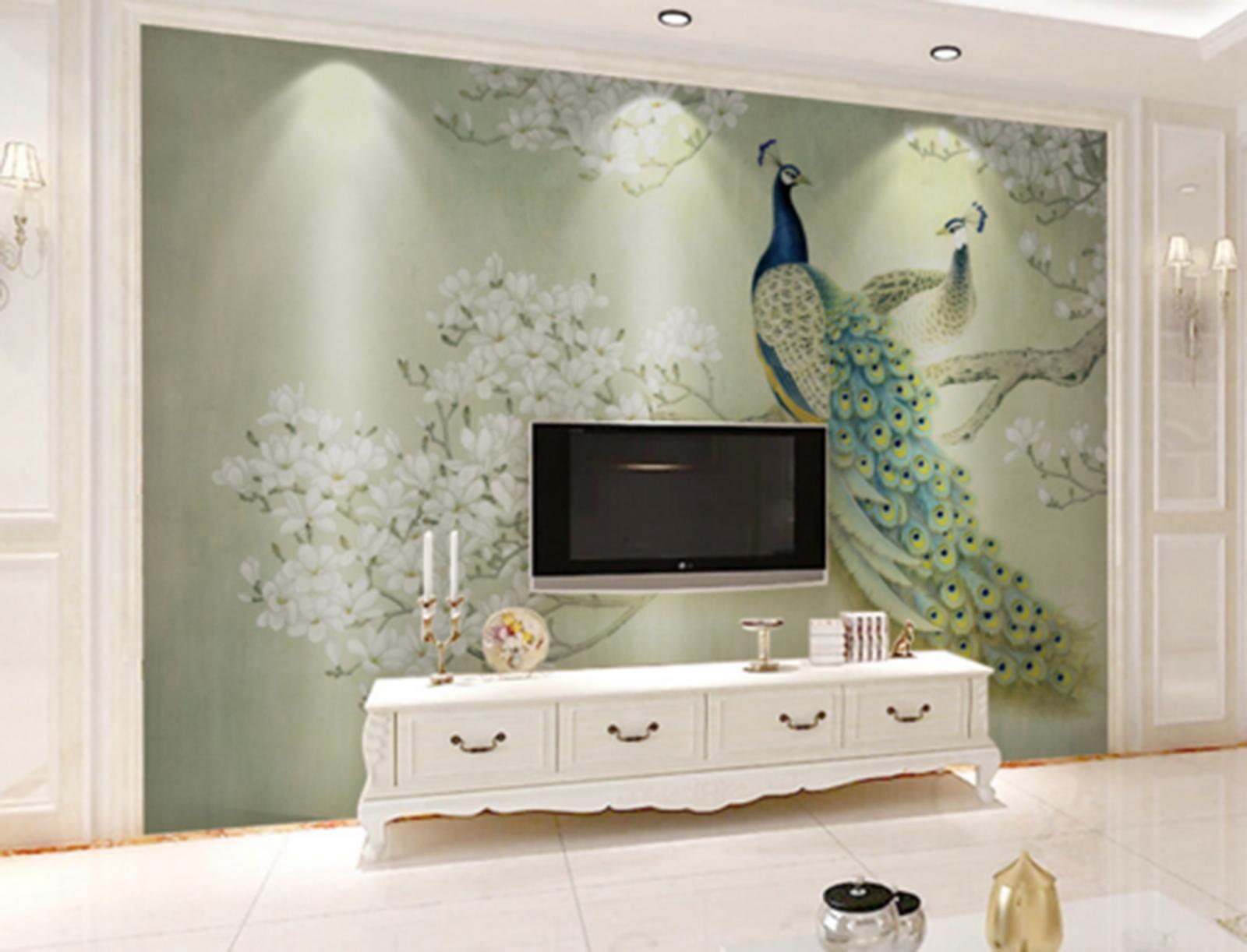 3D Peahen Paint 5014 Wallpaper Murals Wall Print Wallpaper Mural AJ WALL UK Kyra