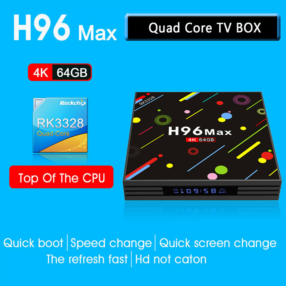 H96 Max-H2 TV Box Android 7.1 RK3328 Quad-Core 4GB/64GB UHD 4K HDR10 WiFi Media Featured