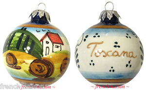 Italian-Hand-Painted-Tuscan-CHRISTMAS-TREE-ORNAMENT-Handcrafted-Ceramic-Gift-New