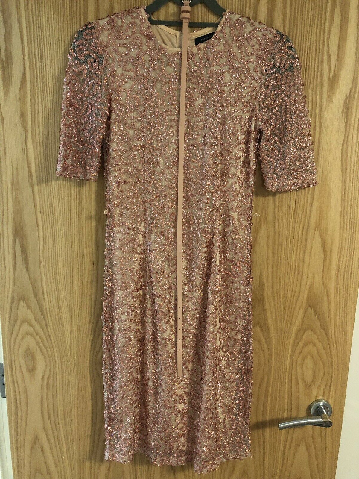 French connection sequin pink dress