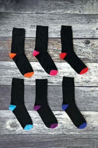 Confezione da 6 da uomo con motivo a strisce colorate Argyle Nero Cotone Ricco Abito Calze