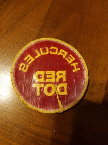 """Details about  /VINTAGE HERCULES RED DOT EMBROIDERED FIREARMS IRON ON PATCH 3/"""""""