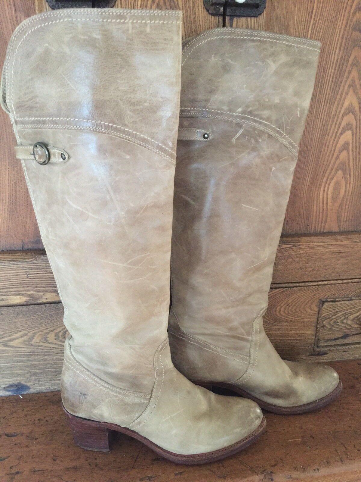 Frye Jane 9.5 OTK tall cuff heel riding Stiefel taupe grau distressed leather GUC