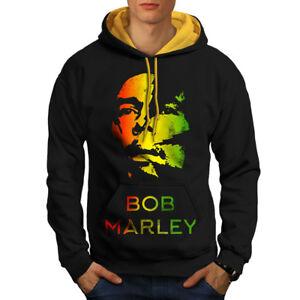 Negro capucha Men Contraste Legend Marley con capucha Weed dorada Rasta Nuevo qwzI8t