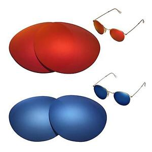 5564ed455ac WL Polarized Fire Red + Ice Blue Lenses For Ray-Ban Round Metal ...