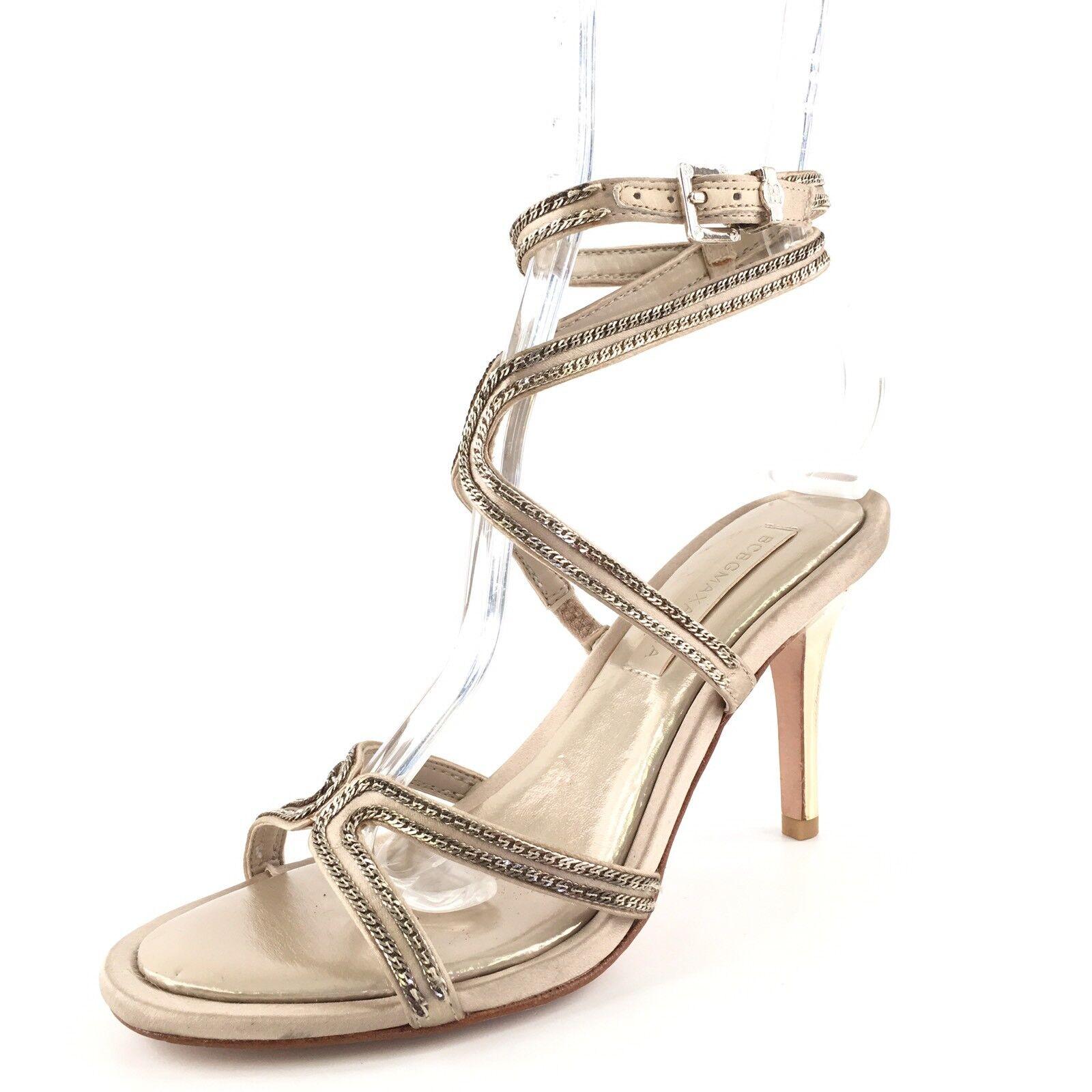 BCBG Max Azria Primp Champagne Satin Ankle Strap Sandals Women's Size 6 M