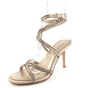 e2a035d8729 BCBG Max Azria Primp Champagne Satin Ankle Strap Sandals Women s ...