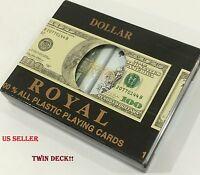 2 DECKS ROYAL HUNDRED DOLLAR BILL POKER PLAYING CARDS PLASTIC w/ BOX SEALED NEW