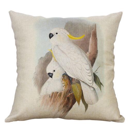 """18/"""" Perroquet Animal Impression coton lin taies d/'oreiller Housse de coussin Home Decor"""
