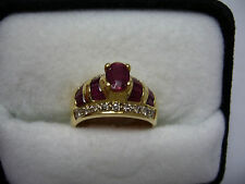 18k Yellow Gold Diamond Ruby Ring