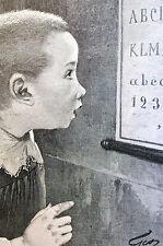 Jean Geoffroy Sense of Sight BOY READING EYE CHART 1891 Ophalmologist Art Matted