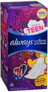 Always Radiant FlexFoam Totally Teen Pads Regular With Flexi Wings 28 Count
