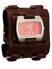 HEAVY LEATHER BIKER  METAL RINGS  STYLE BAND LARGE CASE ANALOG WATCH