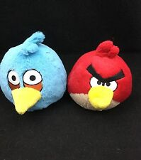 """Angry Birds Red Tan Yellow Blue Plush 6"""" Rovio Mobile Commonwealth Toy Lot of 2"""