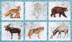 Winter-White-2-Panel-By-Robert-Kaufman-Moose-Fox-Owl-Bear-Deer-Snow