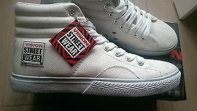 Nuevo Blanco Patineta Vision Street Wear De cuero Hi Zapatillas Uk Size 11