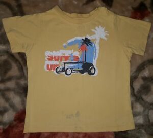 BOYS-Sz-2-yellow-orange-white-amp-blue-PUMPKIN-PATCH-short-sleeve-top-CUTE-CAR