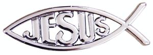 Auto pegatinas sticker Cromo Plata 3d Jesús Cristo pescado Ichthy motocicleta logotipo