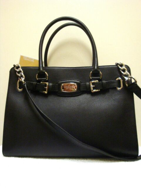 d858da1120c4 Michael Kors Hamilton Large Black Leather EW Tote Satchel for sale ...